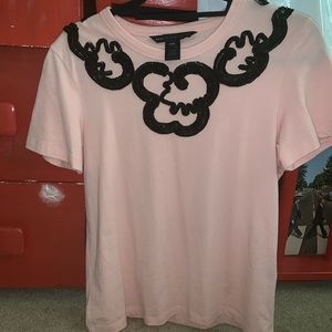 Marc Jacobs pink tee with black sequins